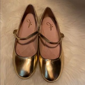 Metallic gold Mary Jane flats